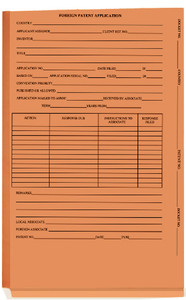 Orange Foreign Patent- End Tab - Shelf Filing,  no fasteners