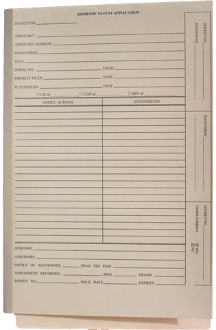 front cover of shelf-filing manila patent/trademark folders with end tab, no fasteners