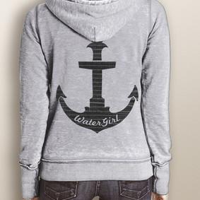 Women's Full-Zip Hooded Fleece - WaterGirl Pinstripe Anchor