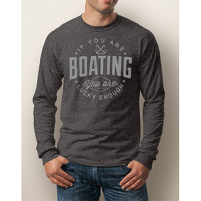 Men's Boating Long-Sleeve - NautiGuy Lucky Enough (Front Print)