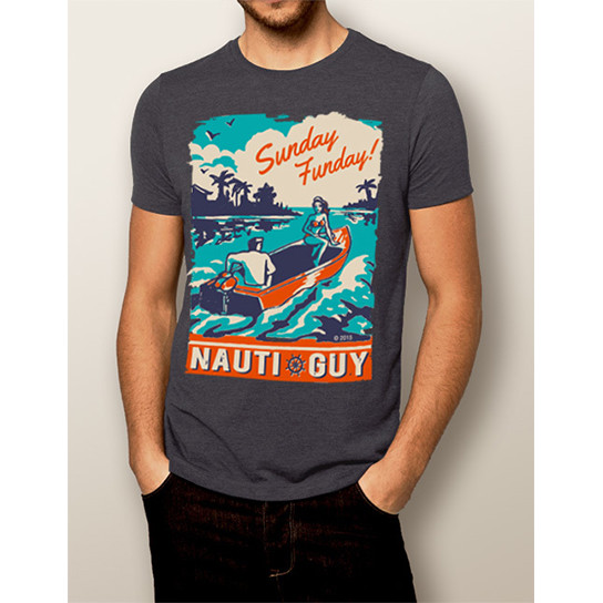 d3f3ab61a Men's Boating T-shirt - NautiGuy Sunday Funday - The Water Soul