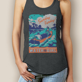 Boating Tank Top - WaterGirl Sunday Funday Signature Tri-Blend Racerback