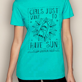 Women's Boating T-Shirt- Sun Crew Neck