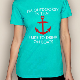Women's Boating T-Shirt- Outdoorsy Crew Neck