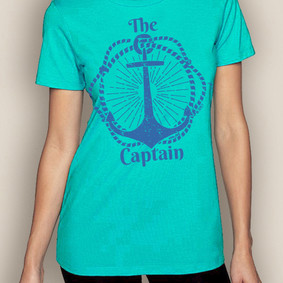 Women's Boating T-Shirt- The Captain Crew Neck