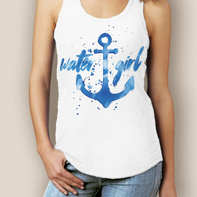 Boating Tank Top- WaterGirl Watercolor Signature Tri-Blend Racerback
