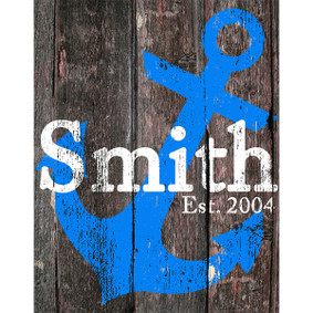 Custom Printed Blue Anchor Wood Sign