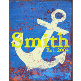 Custom Blue, Yellow & White Anchor Metal Sign