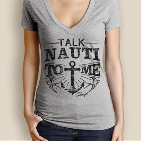 Women's Boating T-Shirt - WaterGirl Talk Nauti Deep V