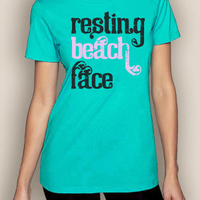 Women's Boating T-Shirt-Resting Beach Face Crew