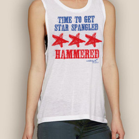 Boating Tank Top- WaterGirl 4th of July Star Spangled Hammered Muscle Tank
