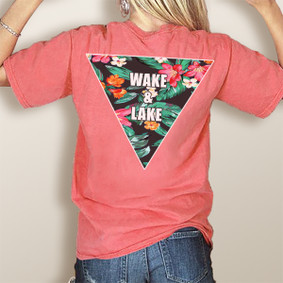 Girl's Wake & Lake Tropical Triangle -Comfort Colors Pocket Tee (More Color Choices)