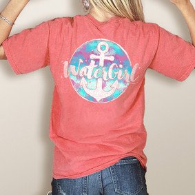 WaterGirl Colourful Anchor- Comfort Colors Pocket Tee (More Color Choices)