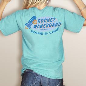 Wake & Lake Rocket Wakeboard Colors Pocket Tee (More Color Choices)