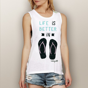 Life is Better in Flip Flops (Teal and Pink Design) -  Muscle Tank (more color choices)