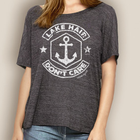 Women's Boating Relaxed Tee- WaterGirl Lake Hair Don't Care
