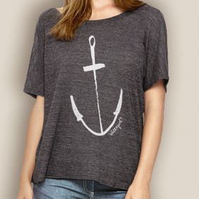 Women's Boating Relaxed Tee- WaterGirl Painted Anchor