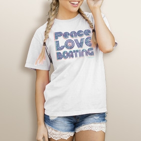 Girl's Watergirl Peace Love Boating-Comfort Colors Tee