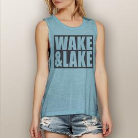 Wake & Lake Block -  Muscle Tank (more color choices)