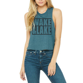 Wake & Lake Block  -  Crop Muscle Tank (more color choices)