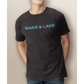 Guy's Wake & Lake Grunge Text - Comfort Colors Tee (More Color Choices)