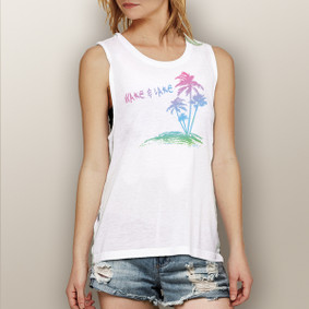 Wake & Lake Colorful Palms -  Muscle Tank (more color choices)