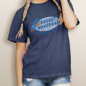 Girl's Wake & Lake Rocket Wakeboard (front print) - Comfort Colors Tee (More Color Choices)
