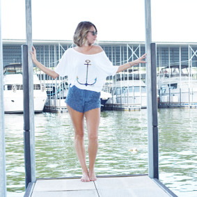 Women's Boating Relaxed Tee- WaterGirl Signature Anchor