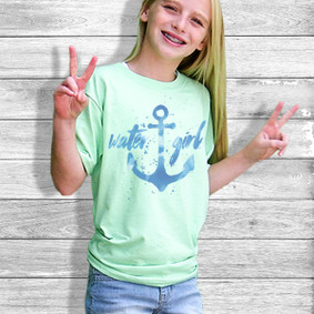 Youth Short- Sleeve-  Watercolor Anchor