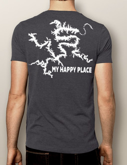 My Happy Place LOTO (or Your Custom Lake) White Print- Men's Crew (More Color Choices)