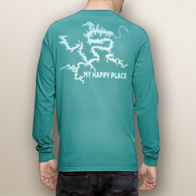 My Happy Place LOTO (or Your Custom Lake) white print - Comfort Colors UNISEX Long Sleeve Pocket Tee (More Color Choices)