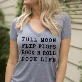 Women's Boating T-Shirt - WaterGirl Full Moon Dock Life Deep V