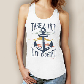 Take a Trip Life is Short Signature Tri-Blend Racerback