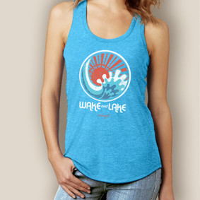 Wake and Lake Wave Circle Signature Tri-Blend Racerback