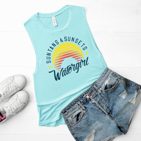 Boating Tank Top - Suntans & Sunsets Muscle Tank