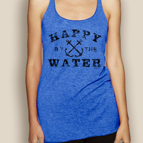 Boating Tank Top - WaterGirl Happy by the Water Lightweight Racerback