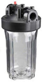 "Watts Clear Filter Housing with black cap 4.5"" x 10""  w Pres Relief. 1"" Inlet/ Oulet"