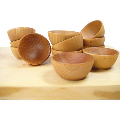 """Mini Wooden """"Pinch"""" Bowls, Condiment Cups - Set of 6"""