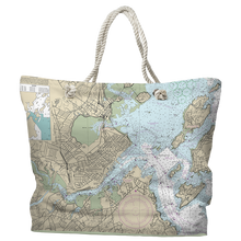 Nautical Chart Tote Bag, Portland, ME