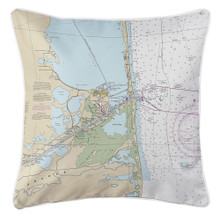 Port Isabel - South Padre Island - Nautical Chart Pillow