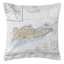 St. Croix US Virgin Islands Nautical Chart Pillow