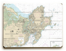 Nautical Chart Sign on Wood Planks