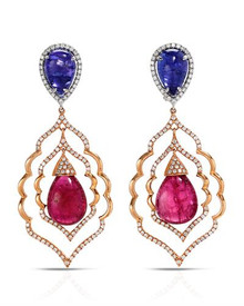 18K Two tone Gold Chandelier Earrings With 24.62ctw Precious Stones