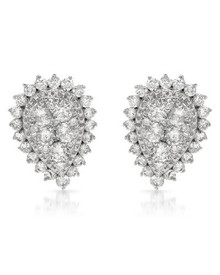 14K White Gold Earrings  With 0.96ctw Genuine Diamonds