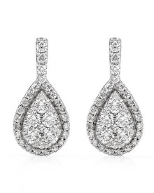14K White Gold  Earring With 0.85ctw Genuine Diamonds