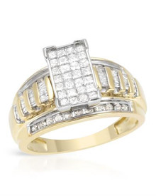 Two tone Gold Ring With 1.00ctw Genuine Diamonds