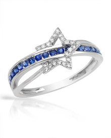14K White Gold  Ring  With - Diamonds and Sapphires
