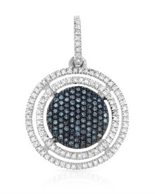 925 Sterling Silver Pendant With Fancy Intense Blue enhanced Diamonds