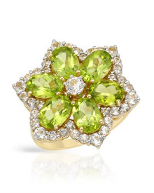 Yellow Gold Ring With 7.06ctw - Genuine Peridots and Topazes