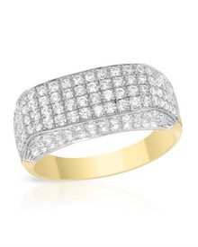 14K Two tone Gold Ring With 2.56ctw Genuine Clean Diamonds .